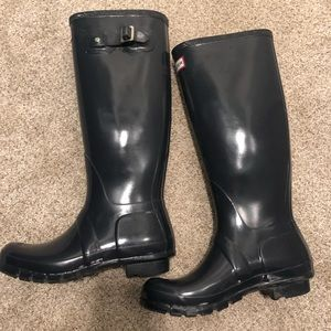 Hunter boots glossy blue